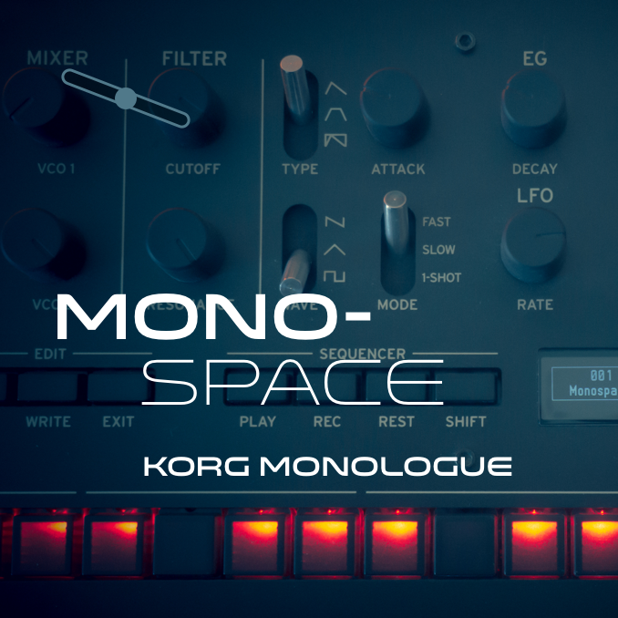 Front cover of the Monospace sound bank for the Korg Monologue